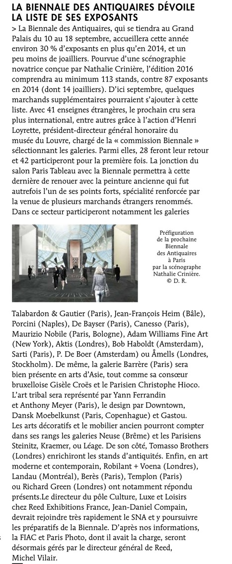 La Biennale des Antiquaires dévoile la liste de ses exposants / Le Quotidien de l'Art | La revue de presse & web du SNA | Scoop.it