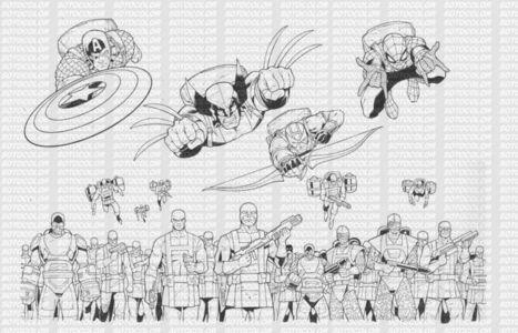 Marvel Heroes Game Original Inked Artwork- Captain America/Wolverine/Hydra | Chris Evans | Scoop.it