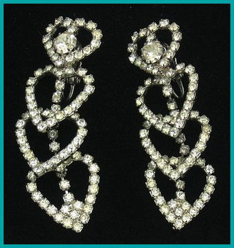 "Vintage HOBE Earrings Rhinestone Dangling Hearts Designer Wedding High End 2 1/4"" VG 