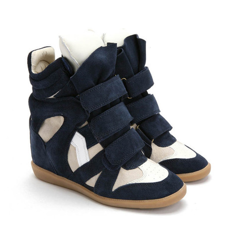 Upere Wedge Sneakers Suede Navy Beige - $190.68 | UPERE Wedge Sneakers Show | Scoop.it