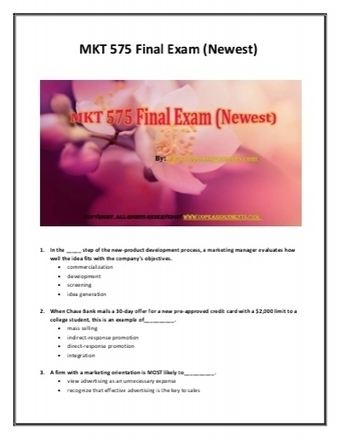 MKT 575 Final Exam (Newest) | UOP Final Exam Answers | Scoop.it