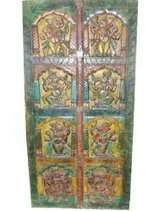 Colorful Dancing Ganesh Wood Panel Doors, Hand Carved Indian Furniture Wall Decor Ganesha 72x36 | Mogul Interior | Vintage Style Decor With Antique Furniture | Scoop.it
