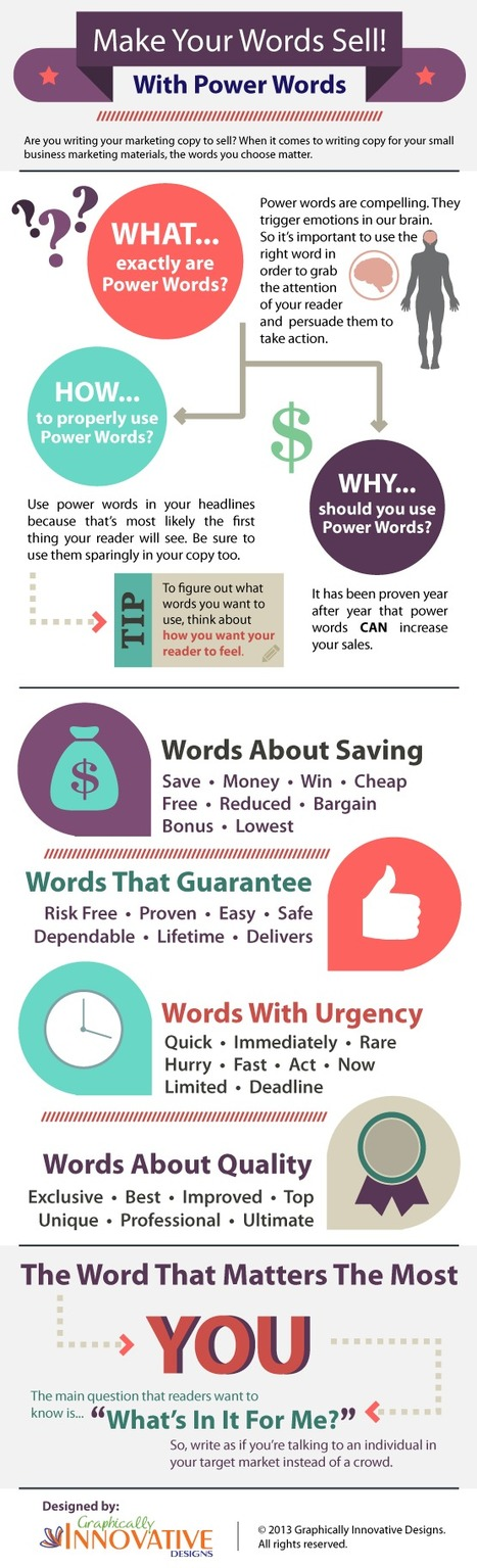 Top 32 Power Words That Will Really Sell Your Content [Infographic] - Bit Rebels | AtDotCom Social media | Scoop.it