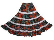 Gypsy Long Skirt - India Ethnic Skirts Red Blue Floral Print Tiered Skirt | Mogul Interior | Bohemian Skirts | Scoop.it