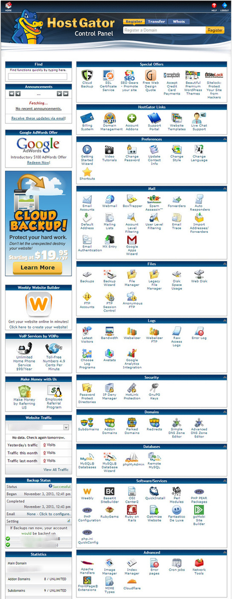 """HostGator Control Panel View - Our Coupon """"FREEHH25OFF""""   Hosting Guide   Scoop.it"""