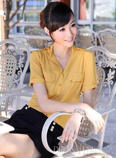Perfect Korean Style Slim Short Sleeves  Stand Collar Shirt | sweet | Scoop.it