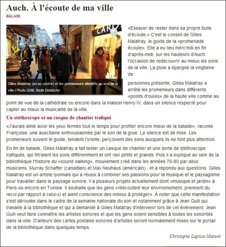 DESARTSONNANTS - LA SEMAINE DU SON 2013 - AUCH, PROMENADE ÉCOUTE (SUITE) | DESARTSONNANTS - CRÉATION SONORE ET ENVIRONNEMENT - ENVIRONMENTAL SOUND ART - PAYSAGES ET ECOLOGIE SONORE | Scoop.it