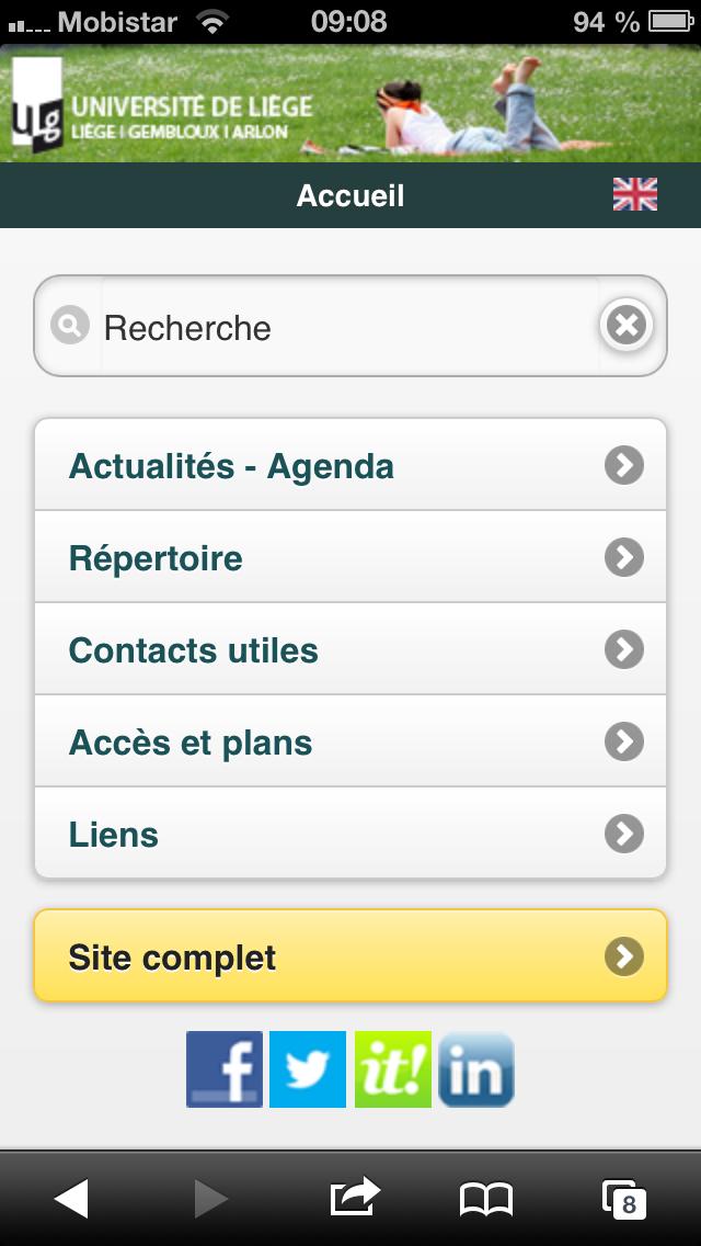 Le site web de l'Université de Liège version mobile | Université de Liège, vue côté Recteur
