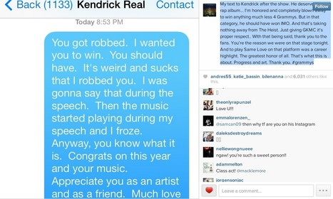 "Macklemore Says He ""Robbed"" Kendrick Lamar At Grammys In Text Message 