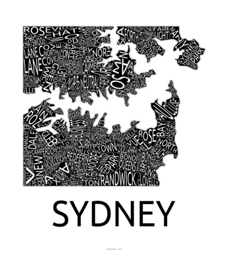 Typographic Sydney Suburbs map | Geopan | OpenMap | Scoop.it