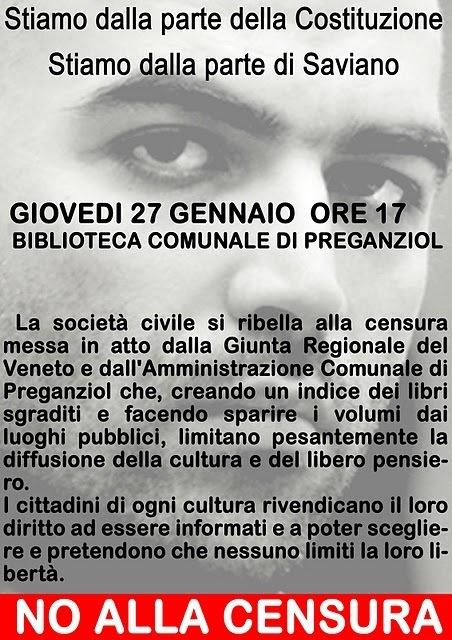 Saviano espluso da Preganziol: l'appello e l'invito di un blogger   Rogo di Libri a Venezia   Scoop.it