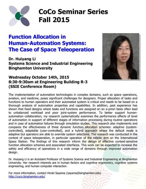 Next CoCo seminar by Huiyang Li on Wed. October 14tt | Center for Collective Dynamics of Complex Systems (CoCo) | Scoop.it