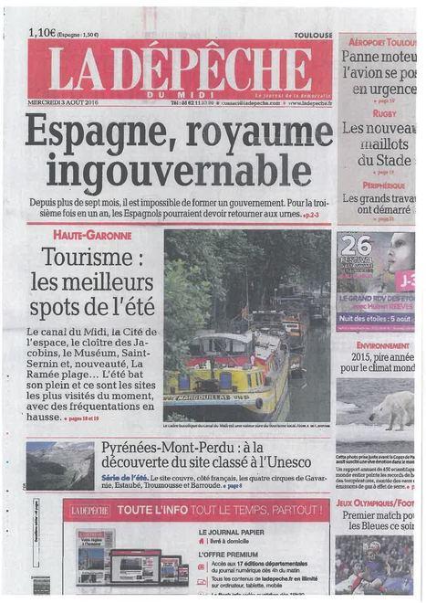Dossier Tourisme HG Dépêche Du Midi 3 Août 2016 | Haute-Garonne tourisme | Scoop.it