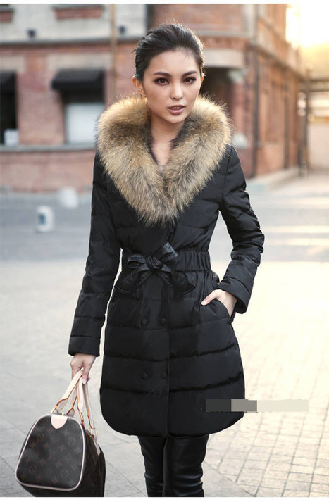 Discount fashion luxury raccoon fur thickening slim lacing medium-long cotton-padded down coat frowm women down parkas on sightface.com | Latest for share | Scoop.it