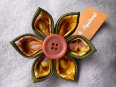 Artwork: Oranges and Lemons Dahlia Kanzashi Brooch - Open House Art | Art - Cra