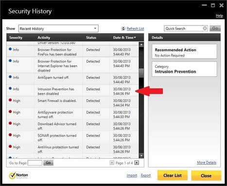 Security History: Intrusion Prevention disabled - Norton Community | Intrusion detection systems | Scoop.it