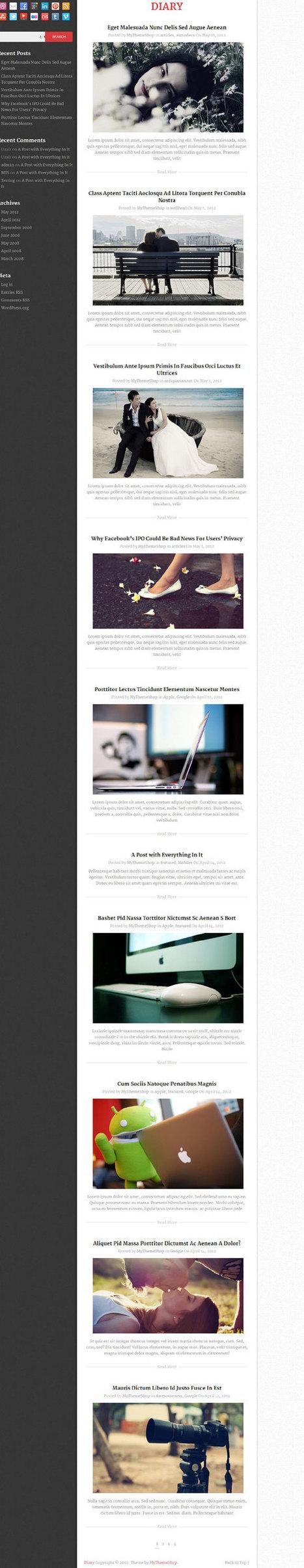 Diary, Free Responsive Blog-style WordPress Theme   Free WordPress Themes VR   Scoop.it