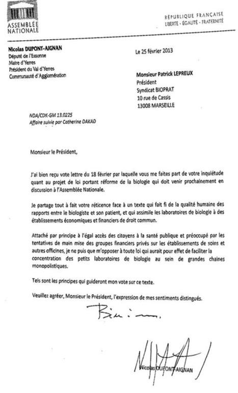 Réponse de Nicolas DUPONT-AIGNAN - syndicat des biologistes praticiens | accréditation biologie | Scoop.it