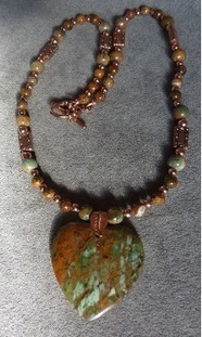 African Green Opal Heart and Copper Natural Stone Necklace | Draped in Stone Jewelry | Scoop.it