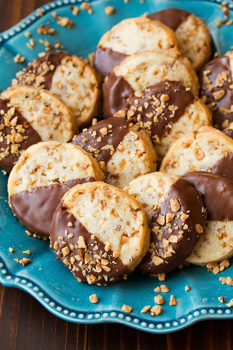 Chocolate Dipped Toffee Pecan Shortbread Cookies - Cooking Classy | Passion for Cooking | Scoop.it