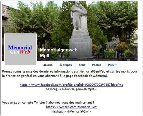 MemorialGenWeb : sur Facebook et sur Twitter | CGMA Généalogie | Scoop.it