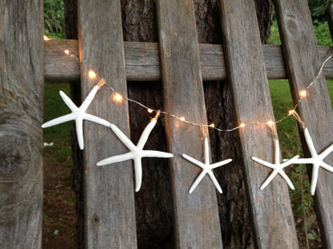 Lighted starfish garland beach decor mantel window display buffet table clear lights bridal shower lighting wedding made to order by ilPiccoloGiardino | Beachy Keen | Scoop.it