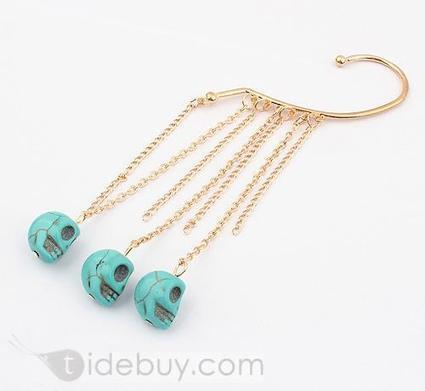Western Exaggeration Skull and Tassels Alloy with Turquoise Fashion Ear-hook(1 pieces in 2colors) | interest thing | Scoop.it