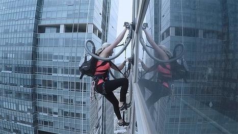 Elle escalade un gratte-ciel de 140 mètres tractée par deux aspirateurs | Neige et Granite | Scoop.it