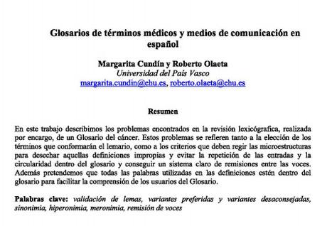 (ES) (PDF) - Glosarios de términos médicos y medios de comunicación | Margarita Cundín y Roberto Olaeta | Glossarissimo! | Scoop.it
