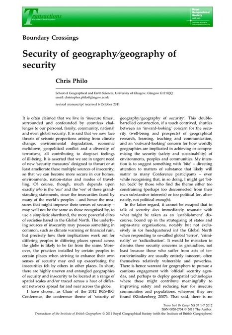 Security of geography/geography of security - Philo - 2011 - Transactions of the Institute of British Geographers - Wiley Online Library | A Geographer's Scrapbook | Scoop.it