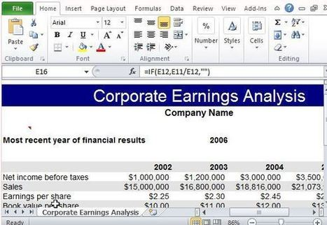 How To Perform Corporate Earnings Analysis in Excel | Free Office Templates | Scoop.it