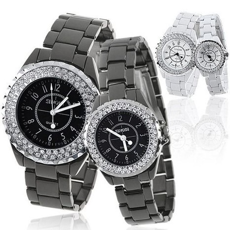 Cheap (SINOBI) Pair of Classic Style Stainless Steel Quartz Watch Wristwatch Timepiece with Rhinestones for Lovers Couples - PayPal - Free Shipping | Choose Gifts for Your Father on Father's Day | Scoop.it