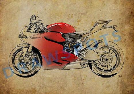 40x28 in. Ducati 1199 Panigale R WSBK 2013, 100x70cm Art Print poster based on an original art, | Ducati Art | Scoop.it