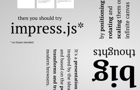 Herramienta de presentación mejor que Prezi y claro, mucho mejor que el unidimensional powerpoint - Impress.js   presentation tool based on the power of CSS3   Executive Summary   Scoop.it
