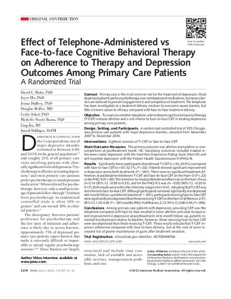 JAMA Network   JAMA: The Journal of the American Medical Association   Effect of Telephone-Administered vs Face-to-face Cognitive Behavioral Therapy on Adherence to Therapy and Depression Outcomes ...   Behavioral Medicine   Scoop.it