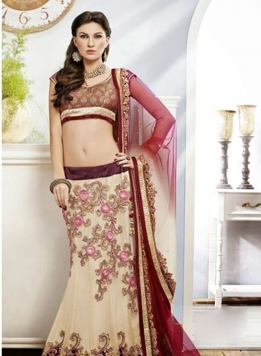 Cream & Maroon Lehnga Choli with Floral Patch,Embroidery. Purchase online now   Bridal Lehengas   Scoop.it