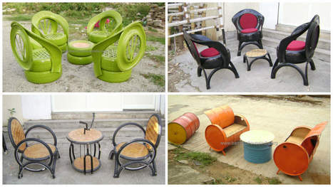 Upcycled Furniture From Old Tires, Oil Drums & Bike Parts • Recyclart | Upcycled Objects | Scoop.it