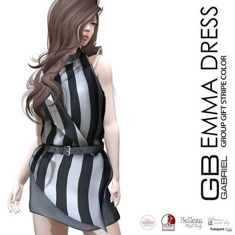 Emma Dress Stripe Group Gift by GABRIEL | Teleport Hub - Second Life Freebies | Second Life Freebies | Scoop.it