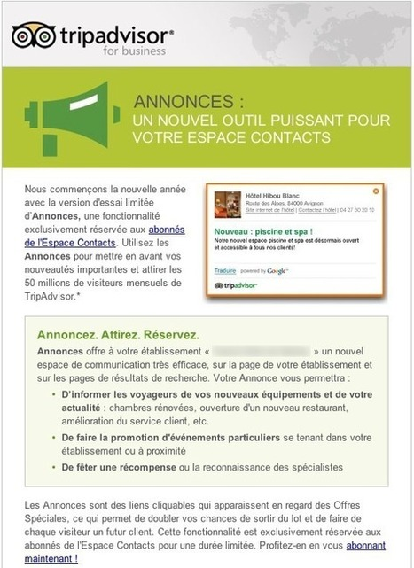 Nouveau service TripAdvisor: les annonces | hotel-marketing | Scoop.it
