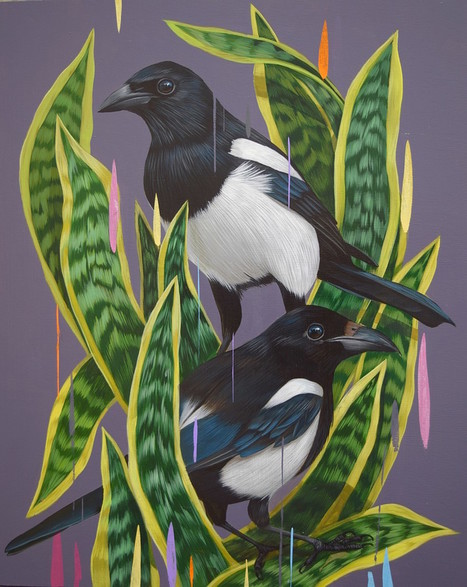 New #Paintings of #Birds Set Against #Colourful Glitches by Frank Gonzales | Luby Art | Scoop.it