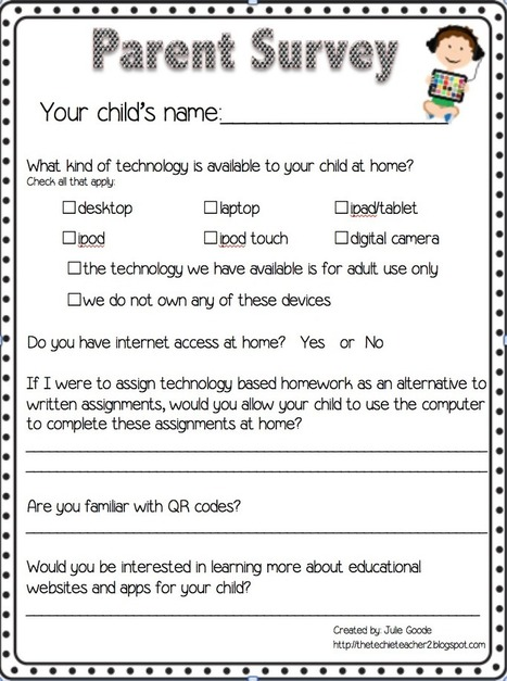 The Techie Teacher: Parent Technology Survey Freebie | learning technologies | Scoop.it