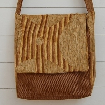 Handmade and unique shoulder bag in brown and ochre chenille. | Welcome to Discount Fabrics Lincs | Scoop.it