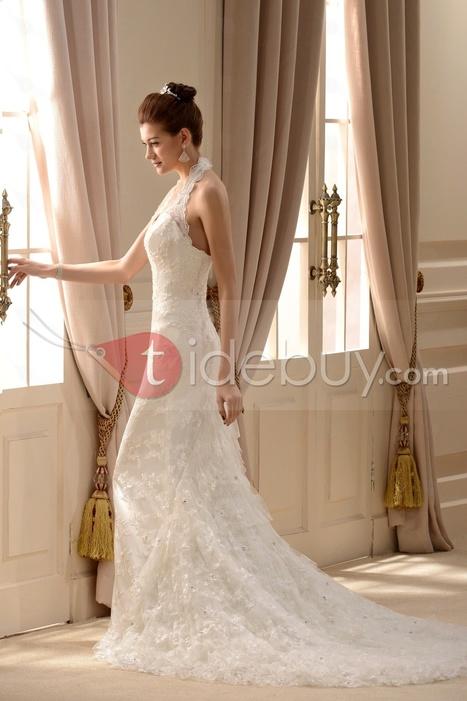 Pretty Trumpet/Mermaid Halter Tiered Chapel Lace Wedding Dress | wedding | Scoop.it