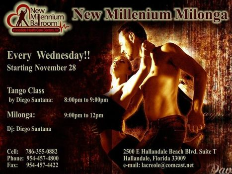 Every Wednesday Tango at New Millenium Ballroom in Hallandalle Beach! | Facebook | Tango in Miami | Scoop.it