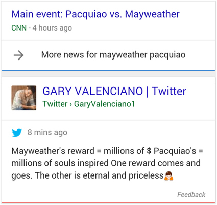 Des tweets à nouveau intégrés dans les résultats de recherche de Google ? | Social Media l'Information | Scoop.it