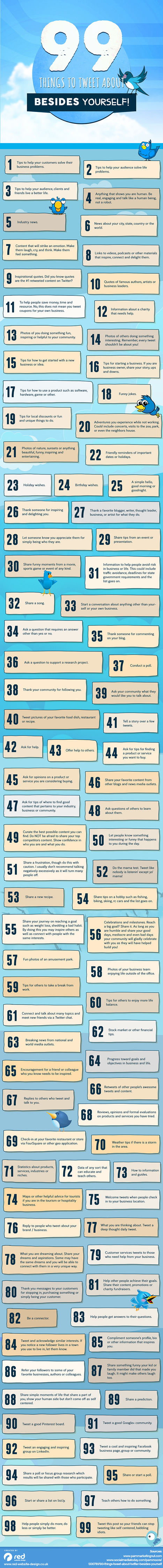 99 Things to Tweet About Besides Yourself | Everything Marketing You Can Think Of | Scoop.it