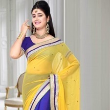 Blue & Yellow Chiffon Saree | Strollay.com | Scoop.it