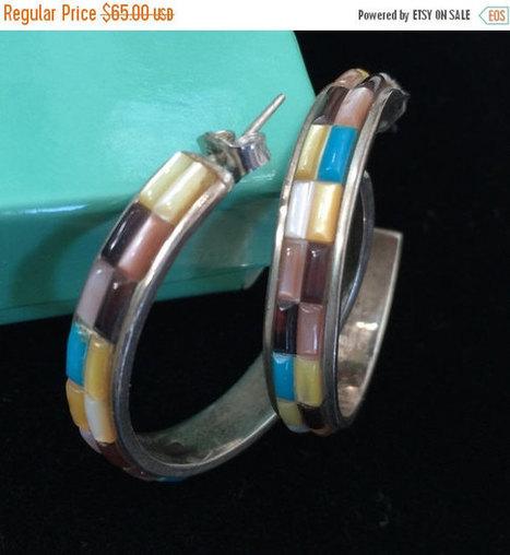 Old Pawn Navajo Sterling Silver Earrings, Cobblestone Gemstones, Large Hoops, Artisan Made | Vintage Jewelry and Other Vintage Treasures | Scoop.it