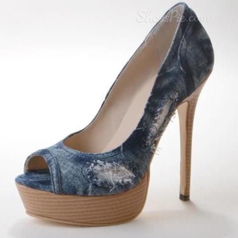 Chic Denim Peep Toe Thick Platform Heels | shoespie | Scoop.it