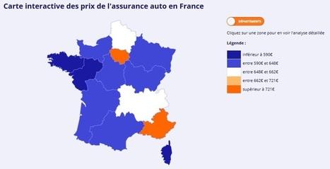 Carte interactive du prix de l'assurance auto en France | assurance temporaire | Scoop.it